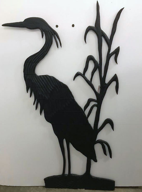 wooden heron, carved on Vancouver Island by West Coast Wood Creations
