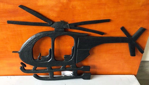 wood helicopter carving, made on Vancouver Island by wood carver West Coast Wood Creations