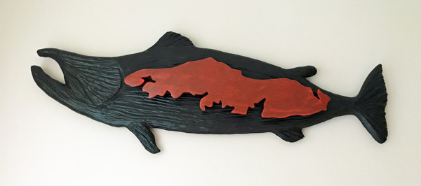 Salmon with Vancouver Island wood carving by Canadian wood carver West Coast Wood Creations