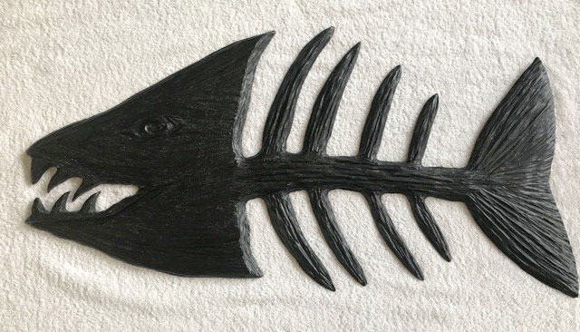 wood carving of bonefish, made in B.C. Canada by wood carver West Coast Wood Creations