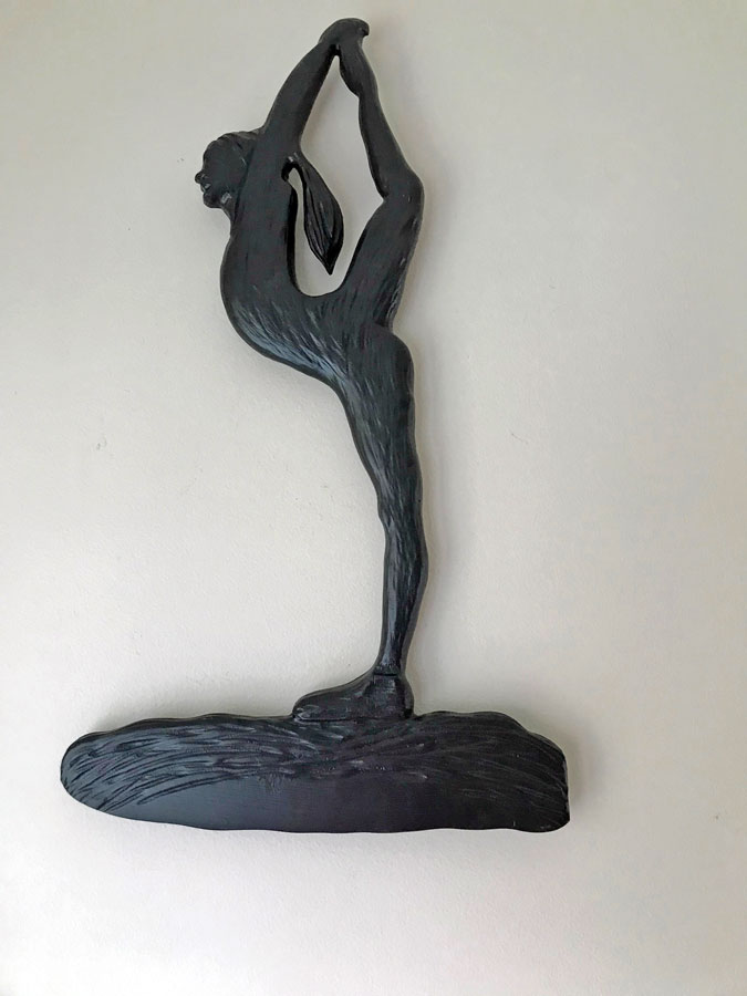 Vancouver Island Wood Carving of yoga woman in dancers pose