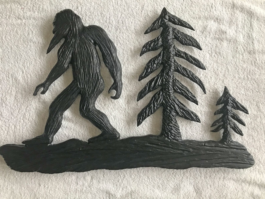 Sasquatch wood carving, made in Nanaimo by Vancouver Island wood carver Kim Reavley