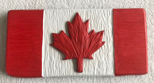wooden carved Canadian Flag, hand carved on Vancouver Island by West Coast Wood Creations
