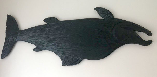 wood carving of salmon, made in Nanaimo by West Coast Wood Creations