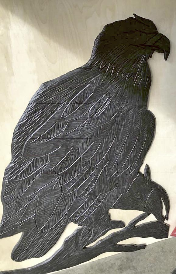 wood carving of an eagle by Vancouver Island wood carver West Coast Wood Creations