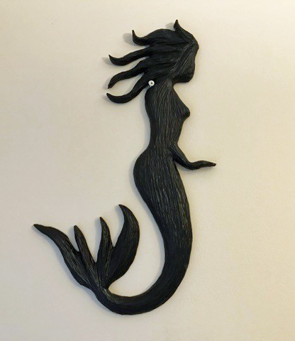 mermaid wood carving by Vancouver Island woodworker in Nanaimo Kim Reavley