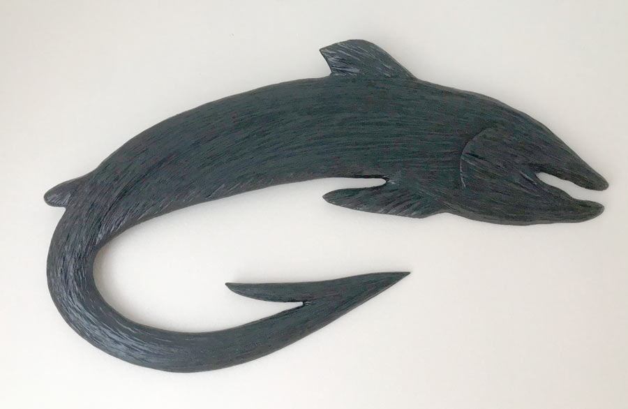 Vancouver Island wood carving of fish with hook by WCW