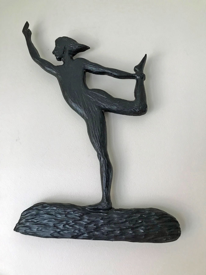 Vancouver Island Wood Carvings of woman in yoga post