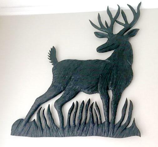 Wood carving of deer buck, by Canadian Wood Carver Kim Reavley