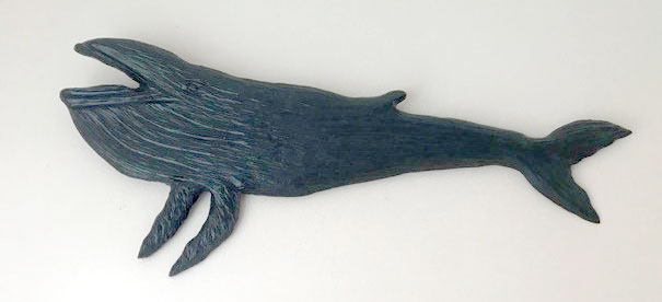 wood carving of humback whale, made on Vancouver Island by Canadian wood carver Kim Reavley